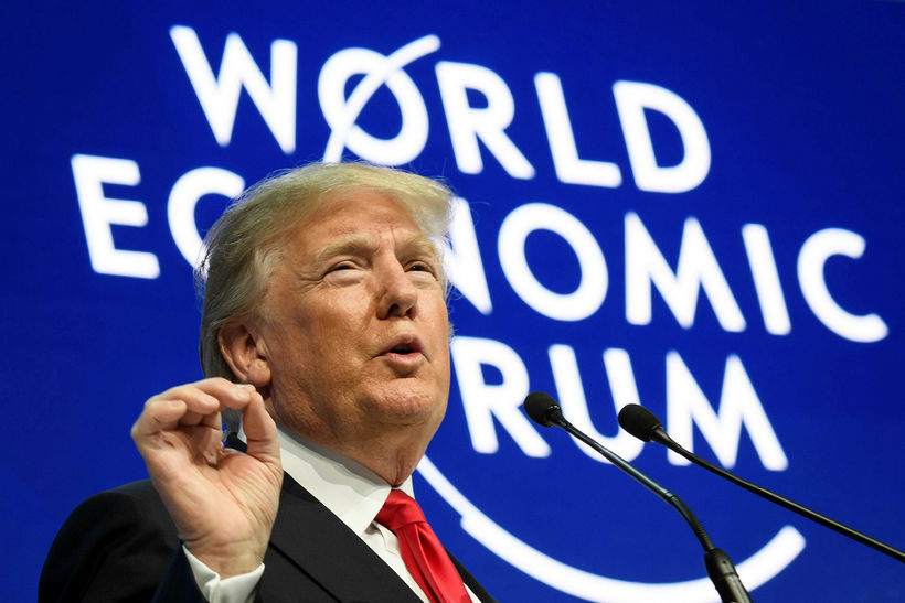 Donald Trump Bandaríkjaforseti í Davos í dag.