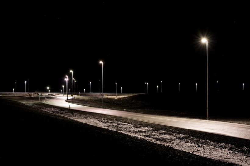 Streetlights at Vogar, a small town on the Reykjanes peninsula.