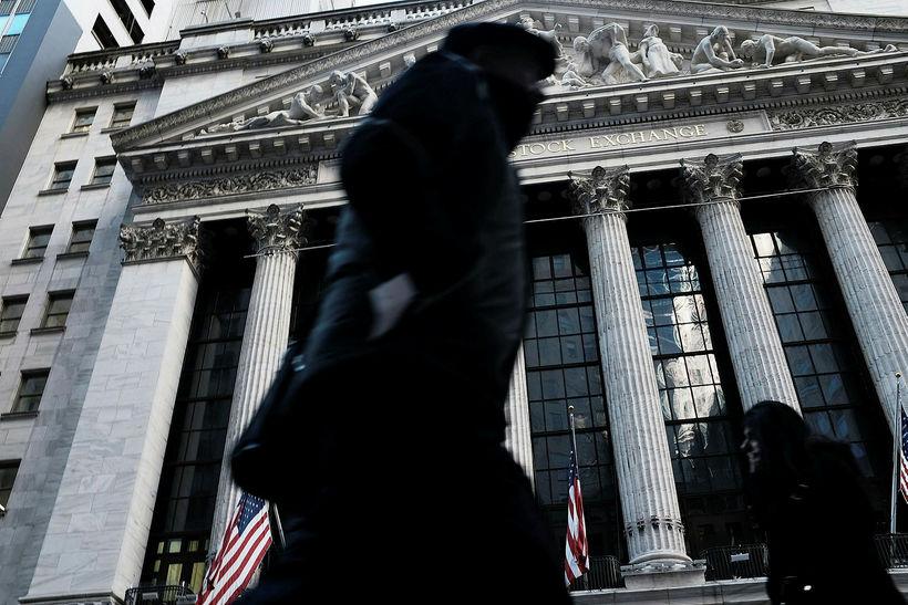 Kauphöllin í New York. Dow Jones hlutabréfavísitalan féll í dag ...