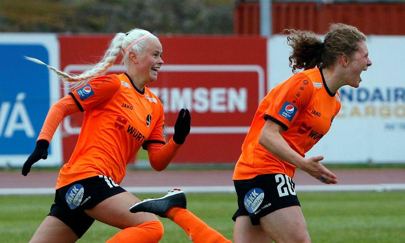 Jasmín Erla Ingadóttir, til vinstri, er komin til FH frá ...