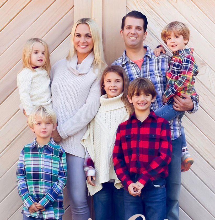 Vanessa Trump og Donald Trump Jr ásamt börnum sínum fimm.