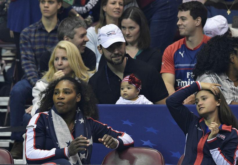 Alexis Olympia var með fulla athygli á tennisvellinum um helgina.
