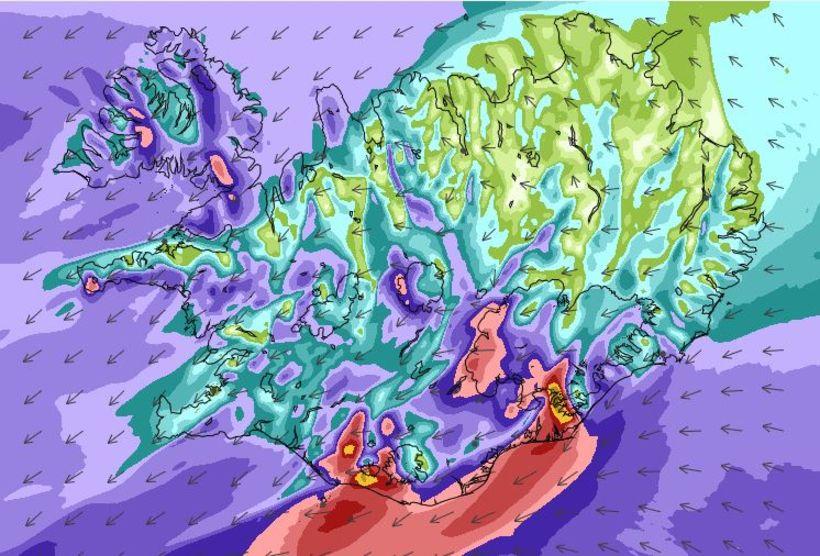 Veðurspá að morgni miðvikudagsins 14. febrúar. Slegið getur í ofasaveður ...