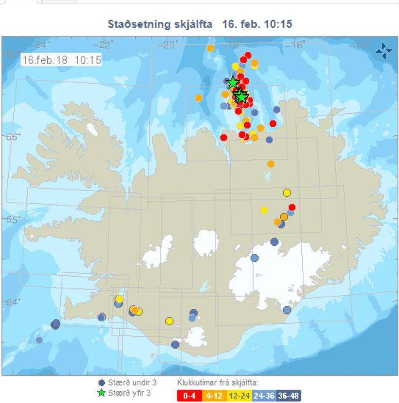 Jarðskjálftar á landinu kl. 10:15 í dag.