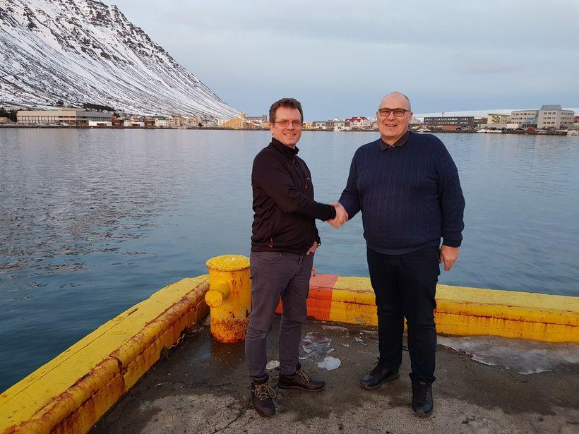 Gunnar Gaukur Magnússon, framkvæmdastjóri VesturVerks, og Einar Sveinn Ólafsson, nýfjárfestingastjóri ...