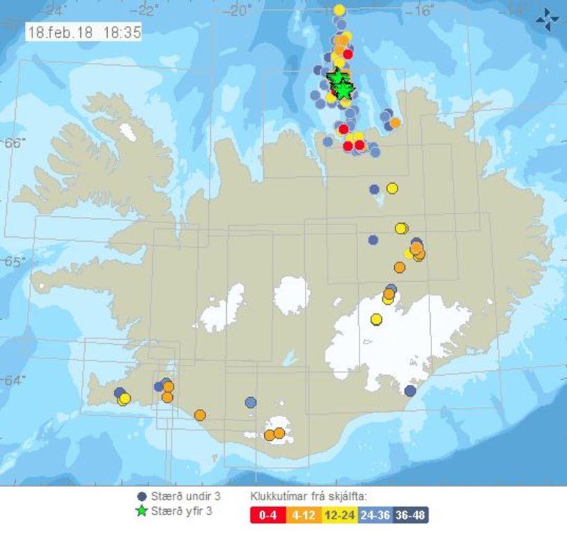 Mikill fjöldi skjálfta hefur verið við Grímsey síðustu daga.