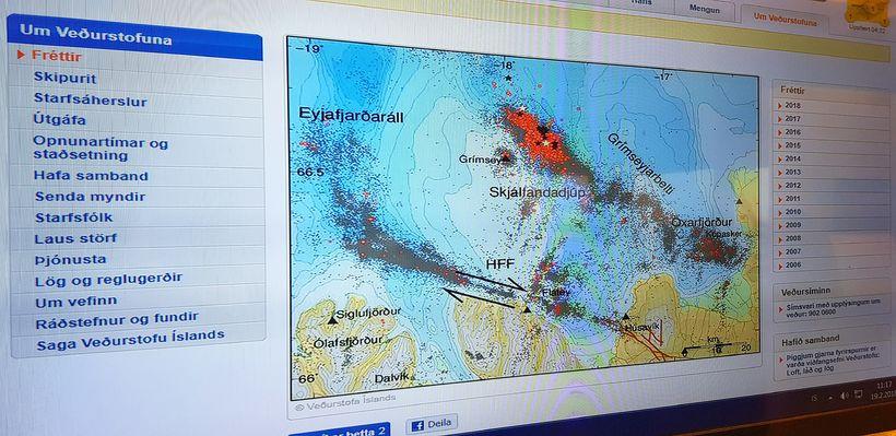 Grannt er fylgst með skjálftunum á Veðurstofu Íslands.