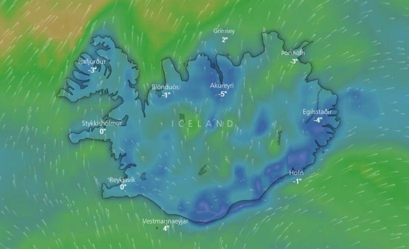Lægðin kemur yfir landið í fyrramálið.