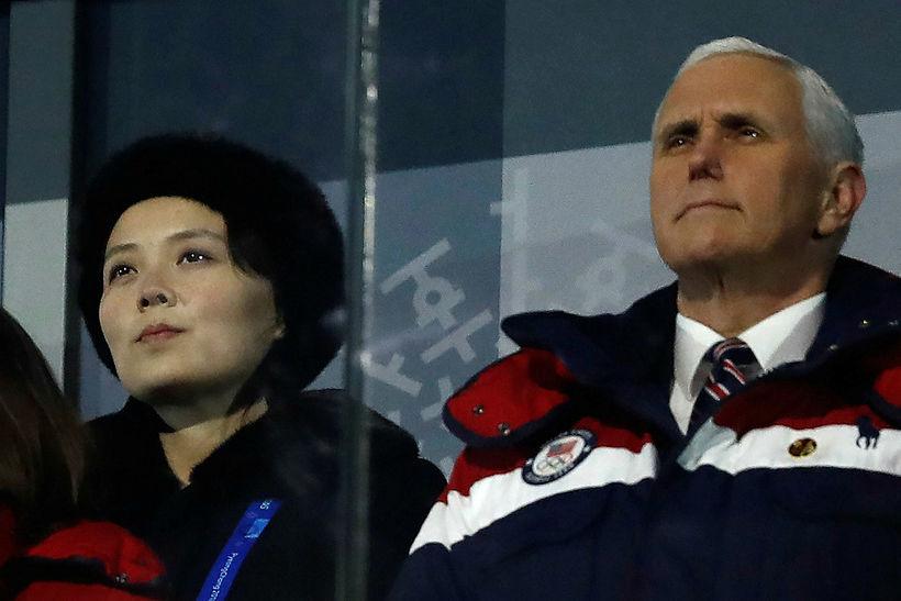 Mike Pence, varaforseti Bandaríkjanna, og Kim Yo-jong, systir Kim Jong-un, ...