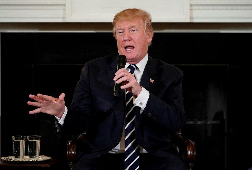 Donald Trump á fundinum í Hvíta húsinu.