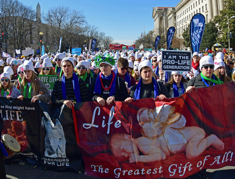 Frá göngu hóspins March for Life.