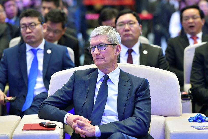 Tim Cook, forstjóri Apple, á netráðstefnu í Kína um árið. ...
