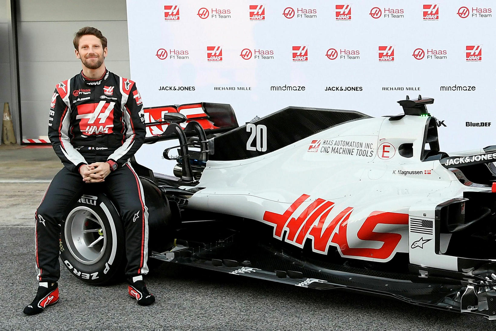 Romain Grosjean á Haasbíl sínum.