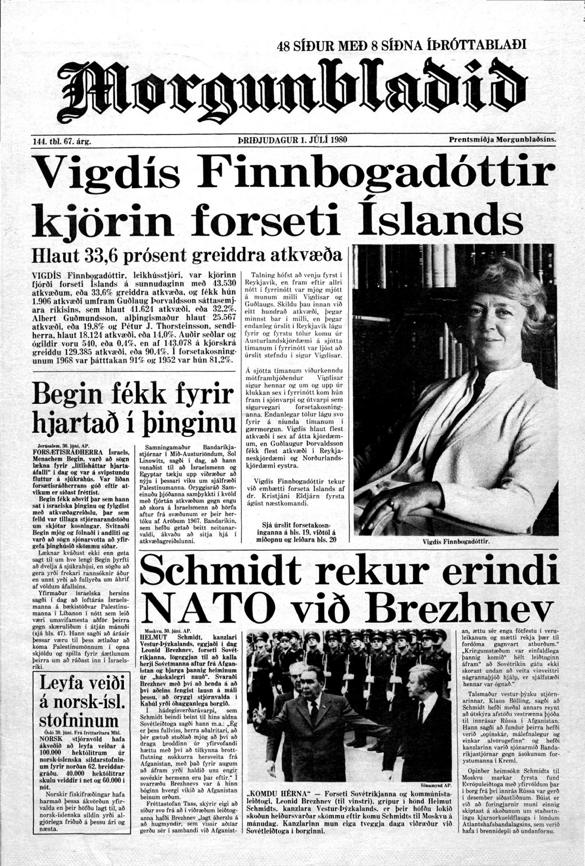 The front page of Morgunblaðið, announcing that Vigdís has been …