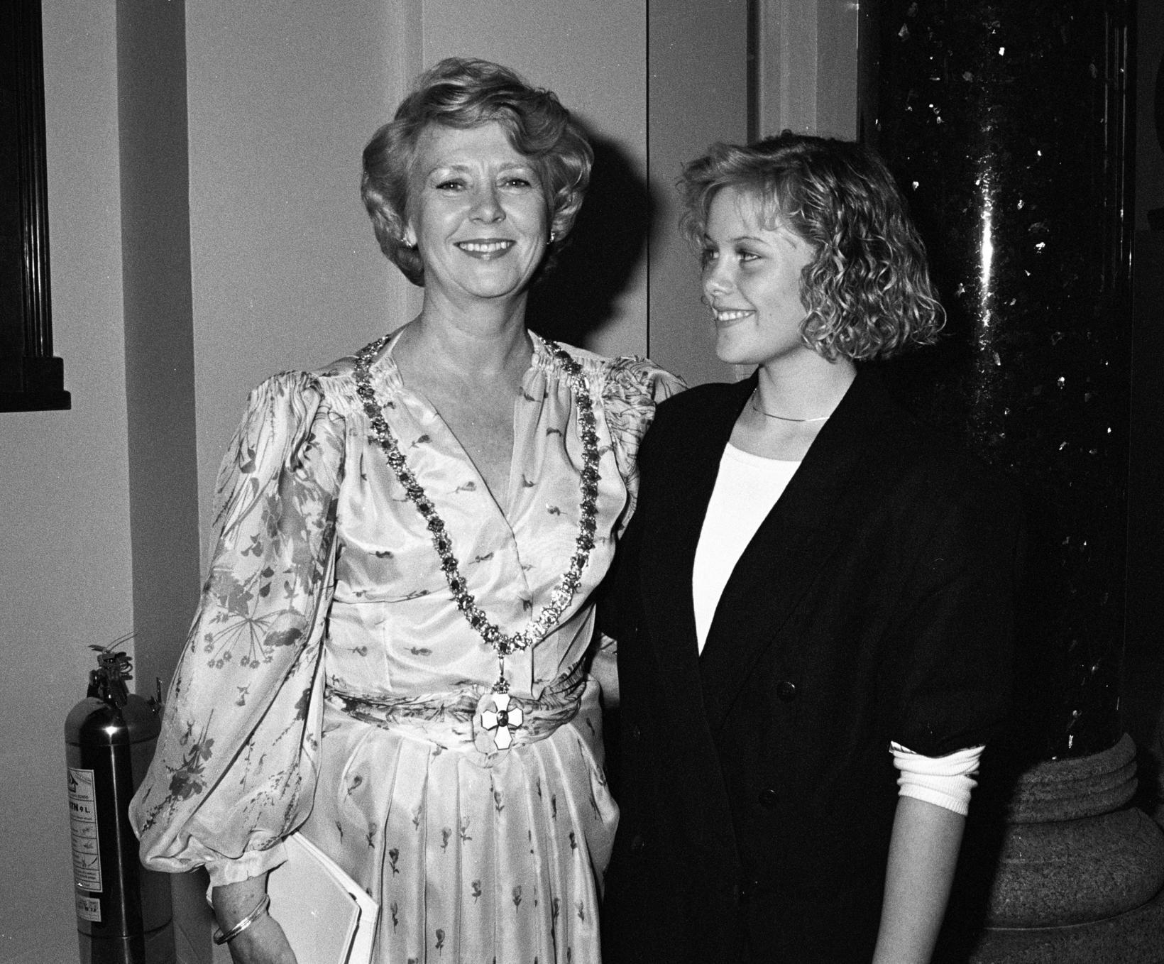 Vigdís forseti og Ástríður dóttir hennar 1. ágúst 1988, daginn …