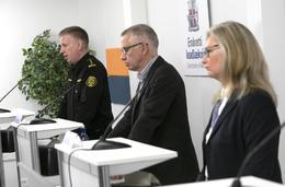 Chief Superintendent Víðir Reynisson, Chief Epidemiologist Þórólfur Guðnason and Director of Health Alma Möller