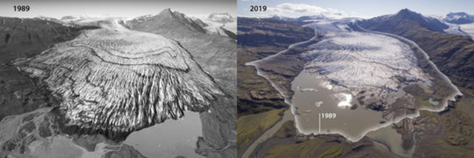 Skálafellsjökull glacier 1989 and 2019.