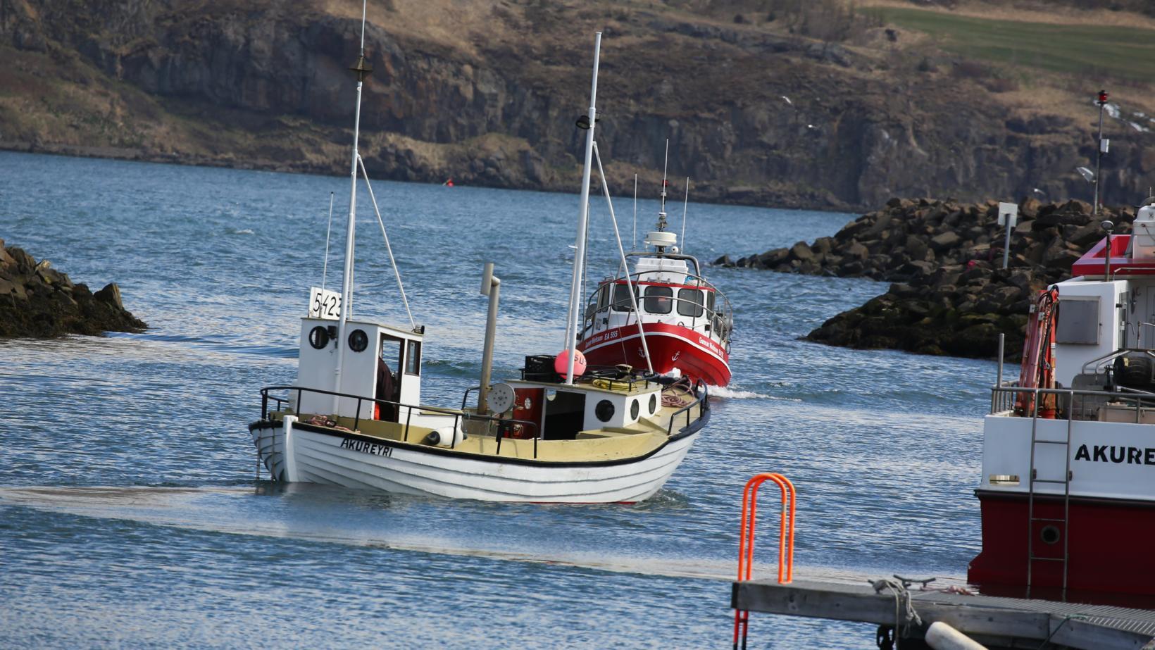 Nokkur fjöldi smábáta í Eyjafirði hófu strandveiðarnar í dag.
