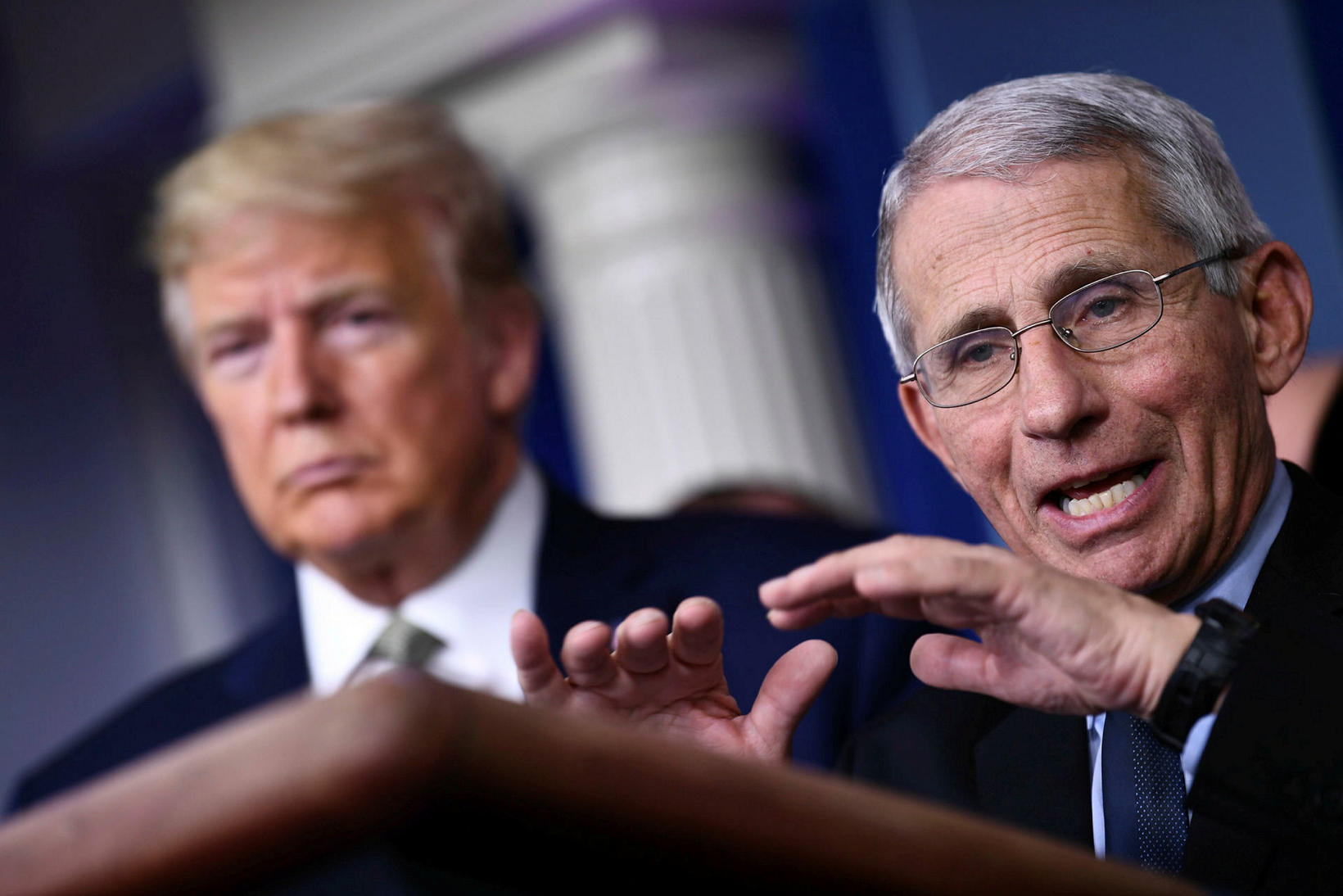 Anthony Fauci ásamt Donald Trump.