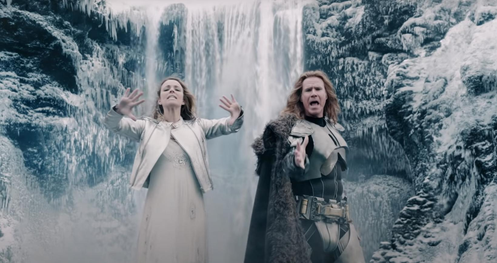 Rachel McAdams and Will Ferrell in Icelandic landscape.