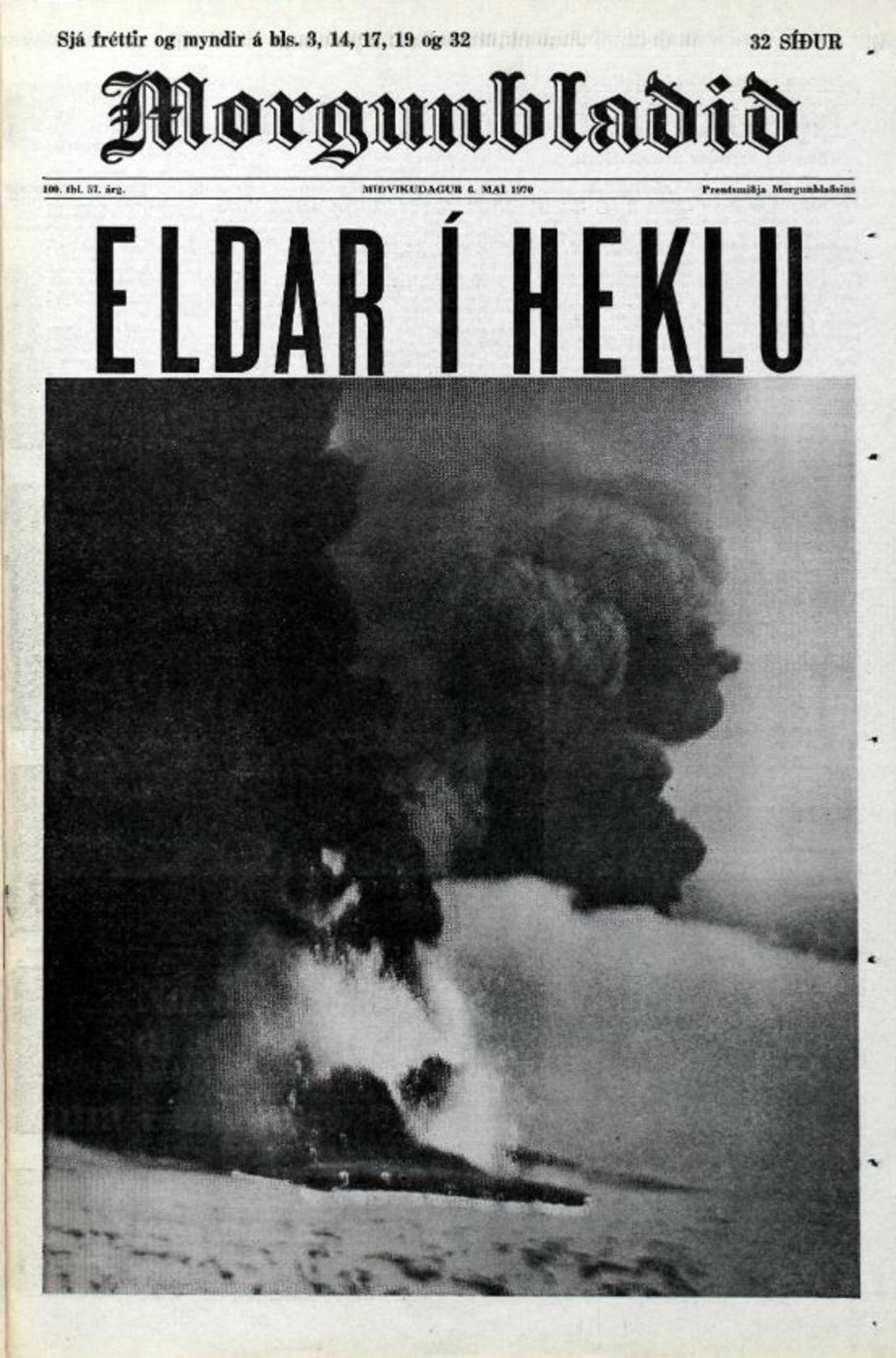 Gosinu í Heklu í maí 1970 var slegið upp á …