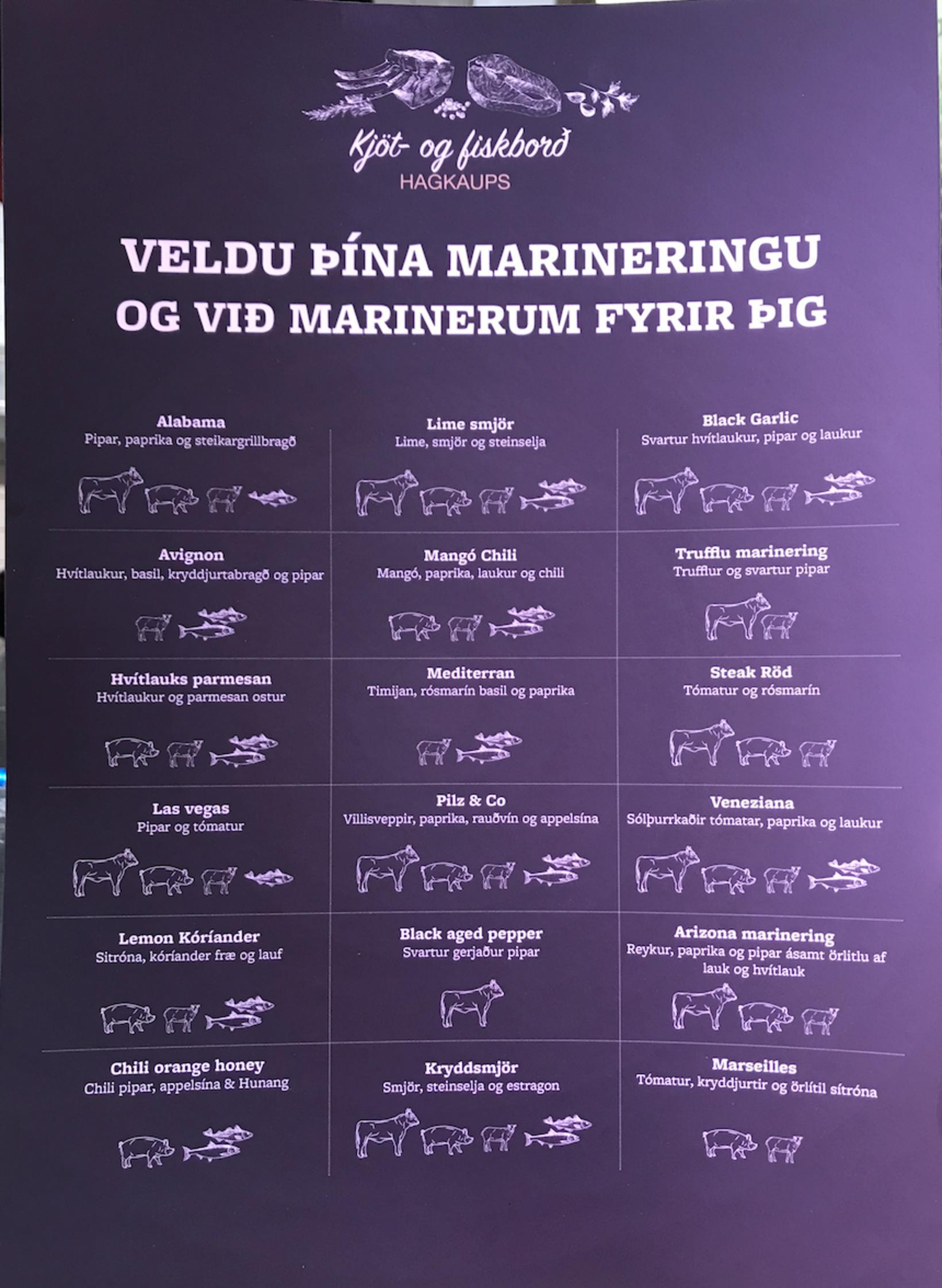 Hægt er að velja úr fjölda tegunda marineringa í kjötborðinu.