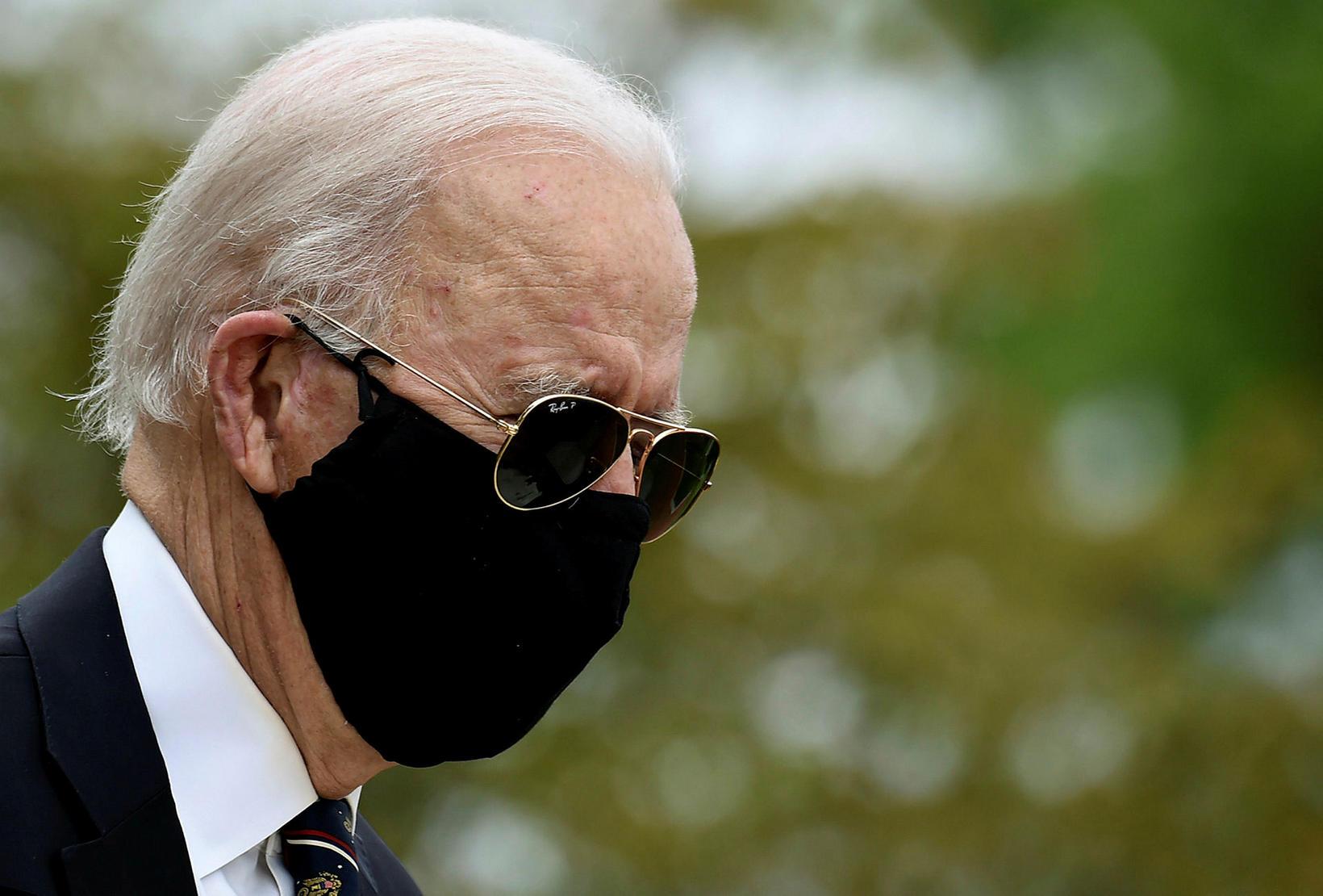 Joe Biden við athöfnina í dag.