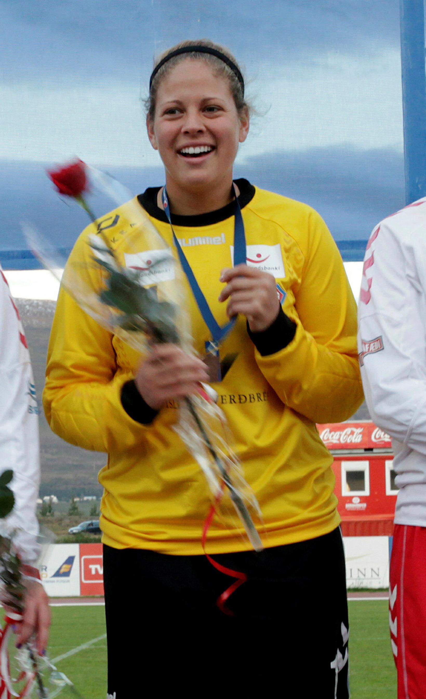 Chantel Jones, markvörður Þórs/KA, er liðið varð Íslandsmeistari 2012.