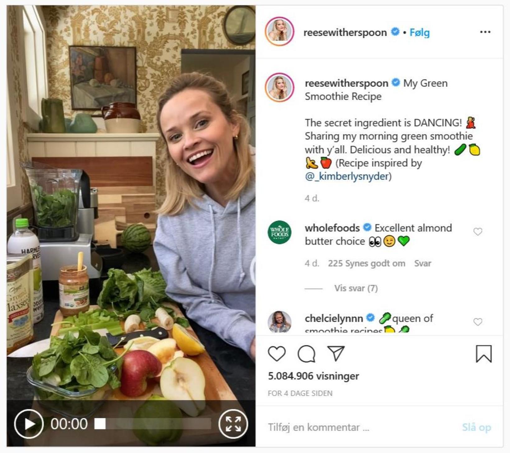 Witherspoon birti nýverið myndband á Instagram sem sýnir hvernig hún …
