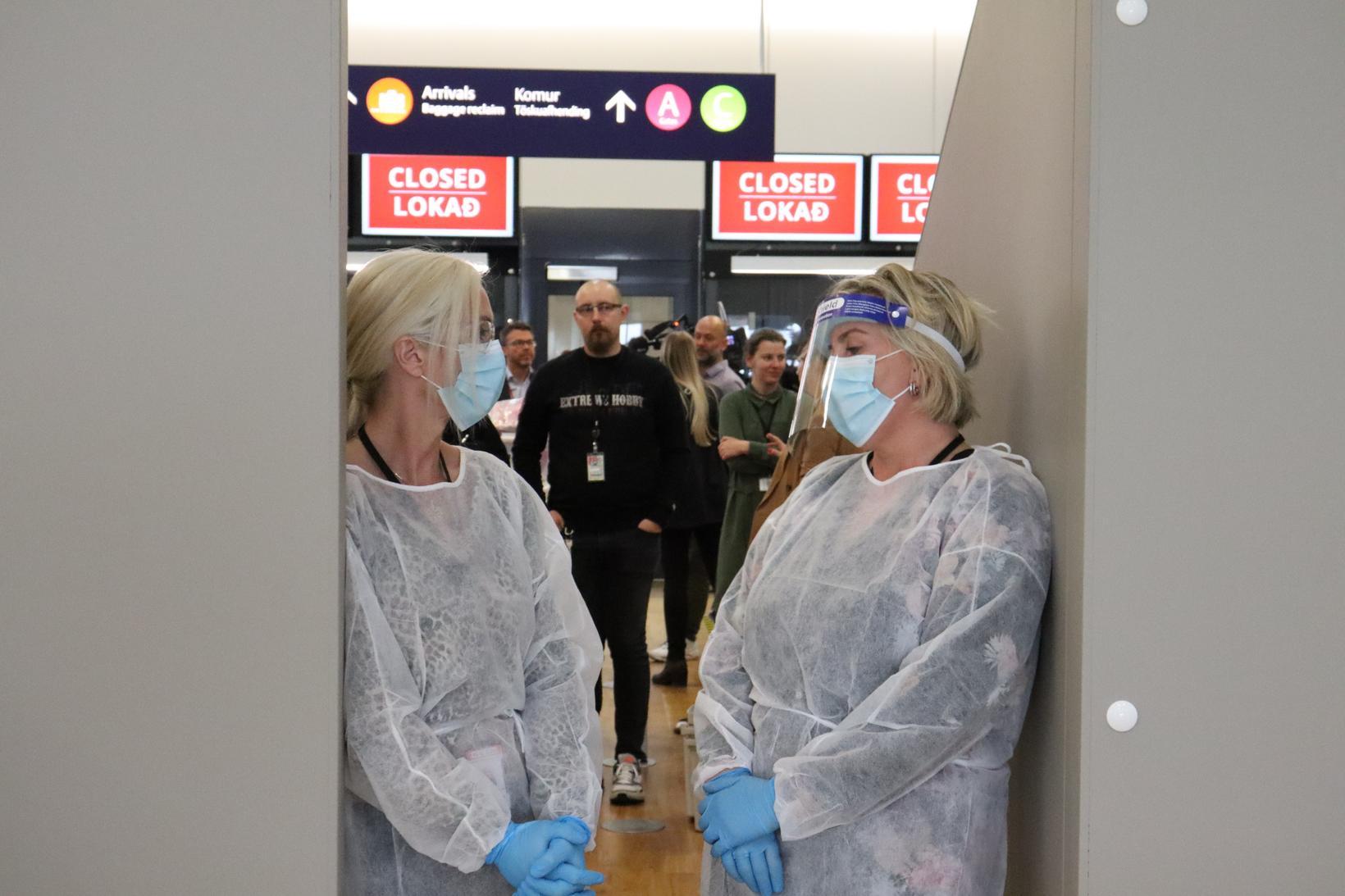Healthcare workers at Keflavík International Airport.
