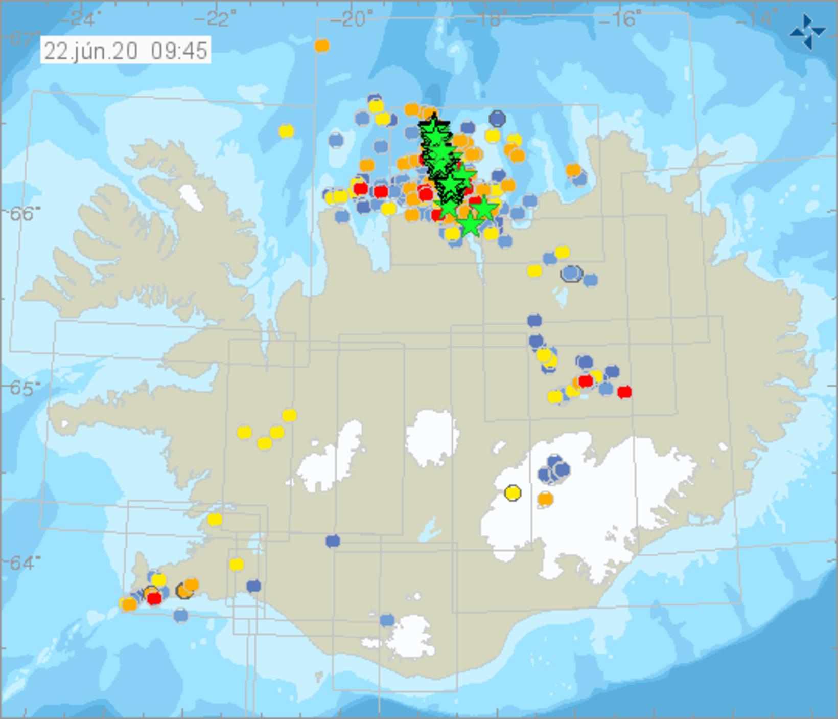 The map shows the location of the earthquakes.