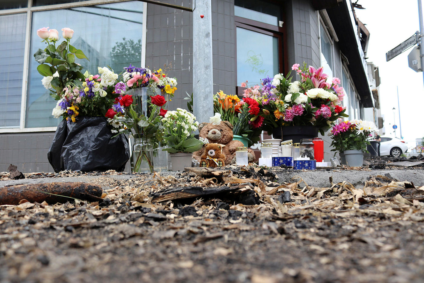 Flowers were laid in front of the ruins of Bræðraborgarstígur …