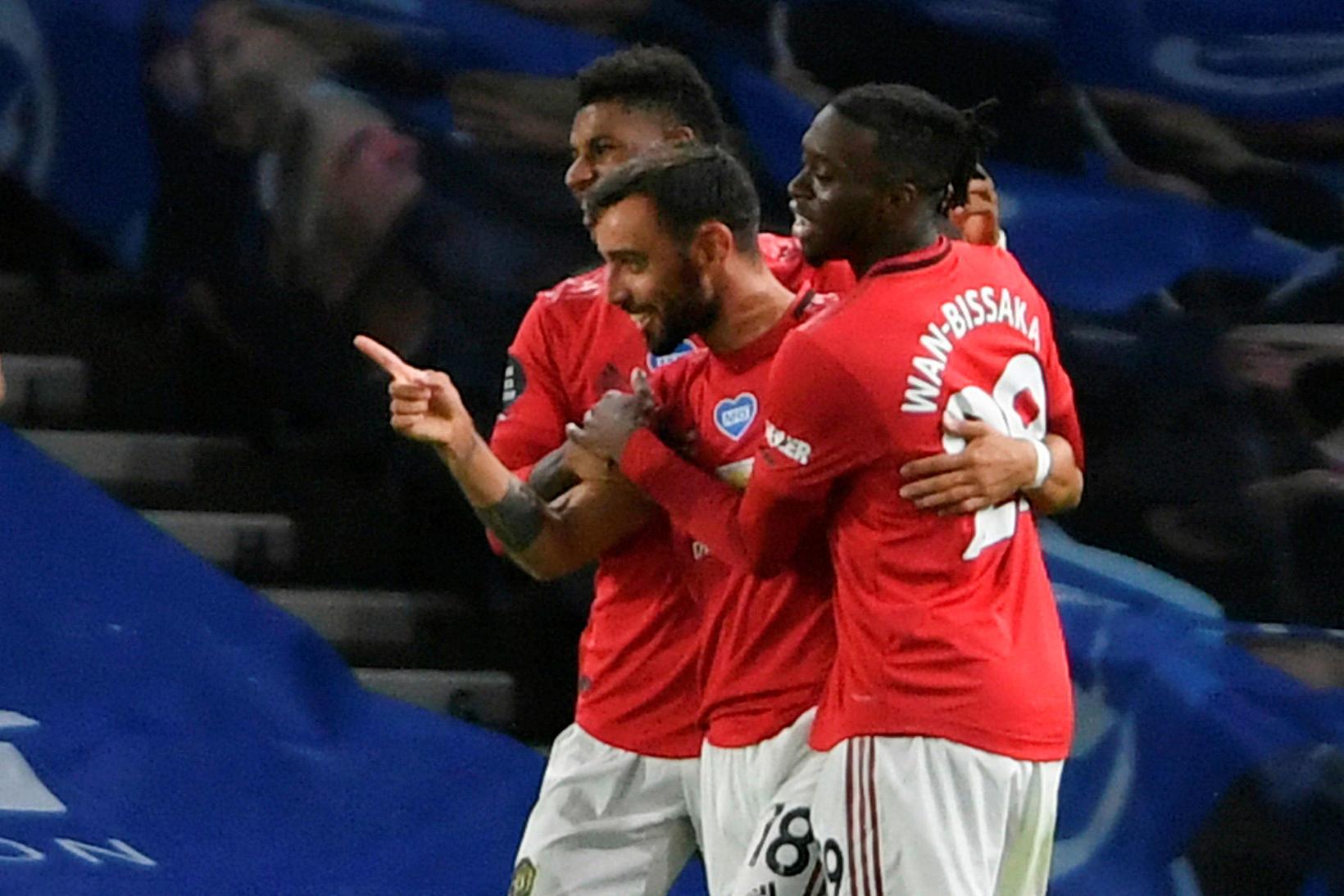 Bruno Fernandes skoraði tvívegis fyrir United gegn Brighton á þriðjudaginn …