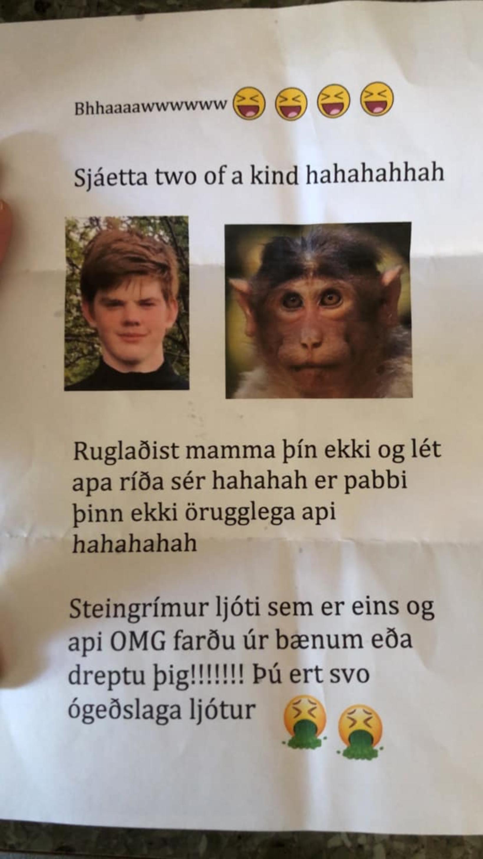 Bréfið var nafnlaust.