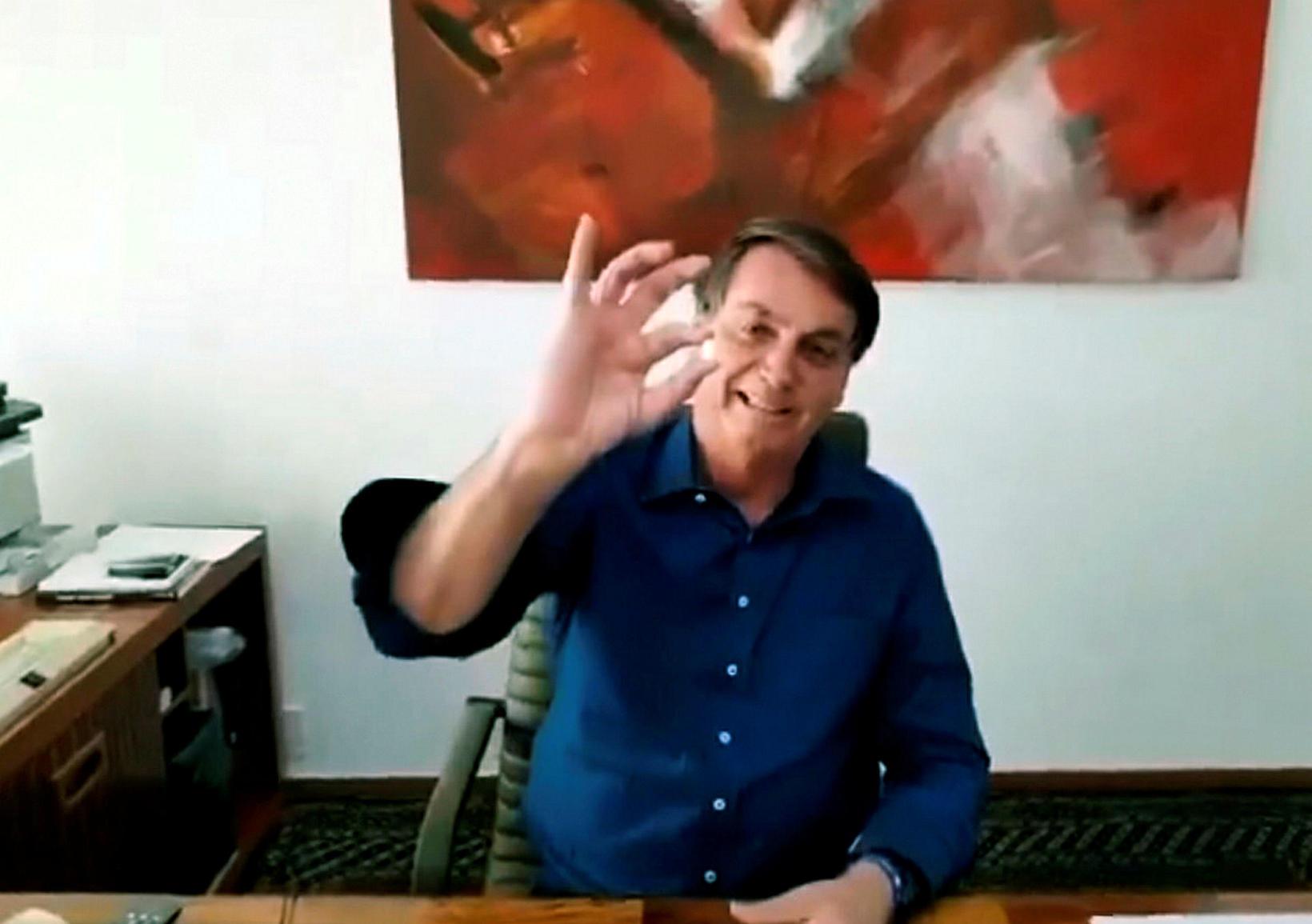 Jair Bolsonaro, forseti Brasilíu, flutti ávarpið á Facebook.