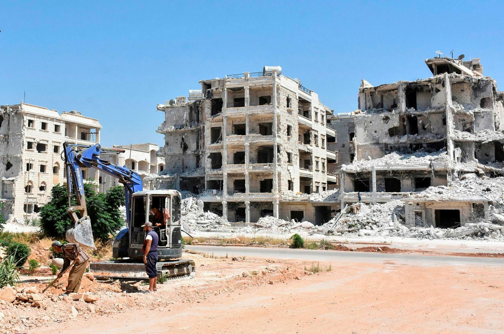 Frá al-Zahraa hverfinu í Aleppo. Myndin var tekin fyrr í …