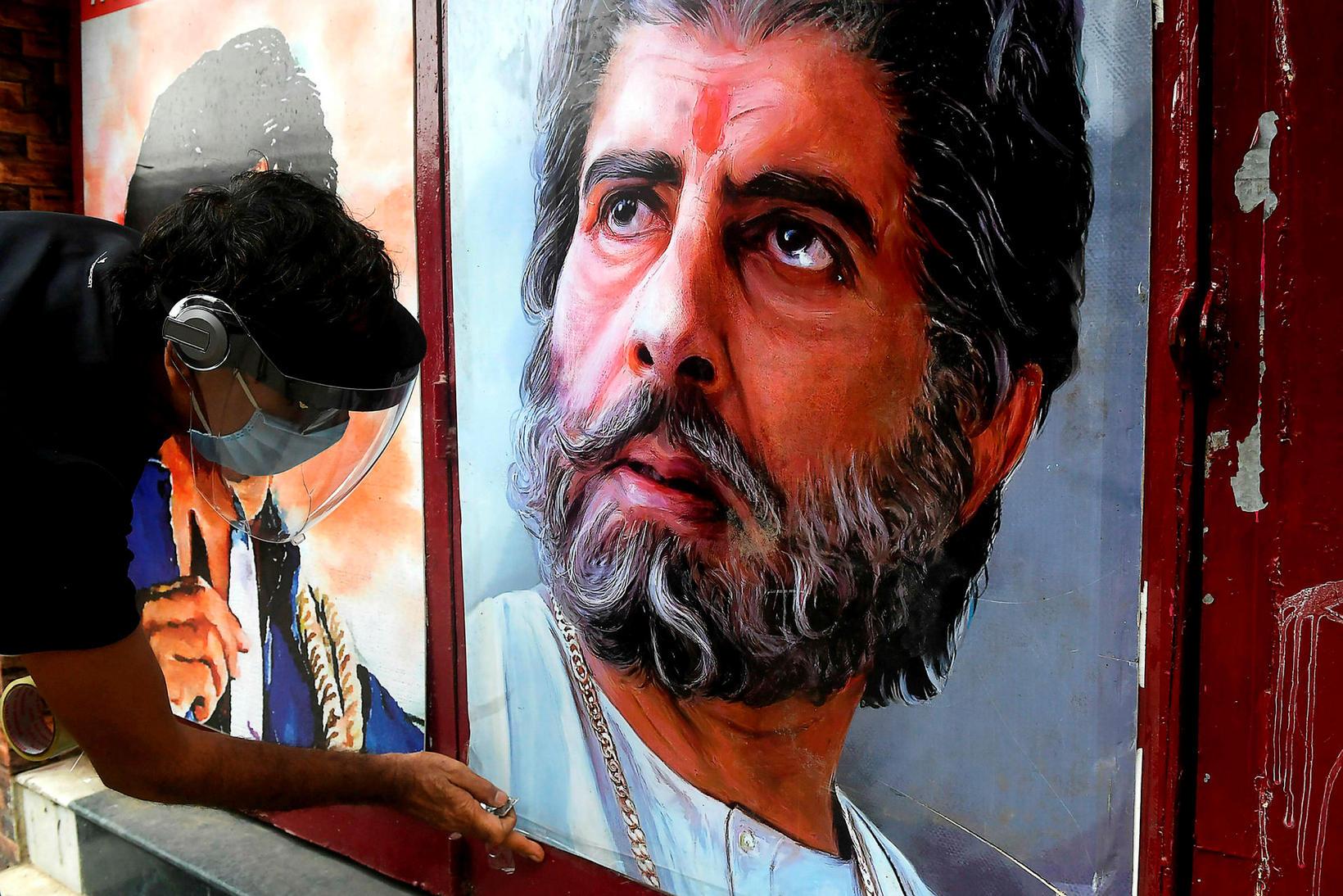Veggspjald af Amitabh Bachchan en hann hefur verið ein skærasta …