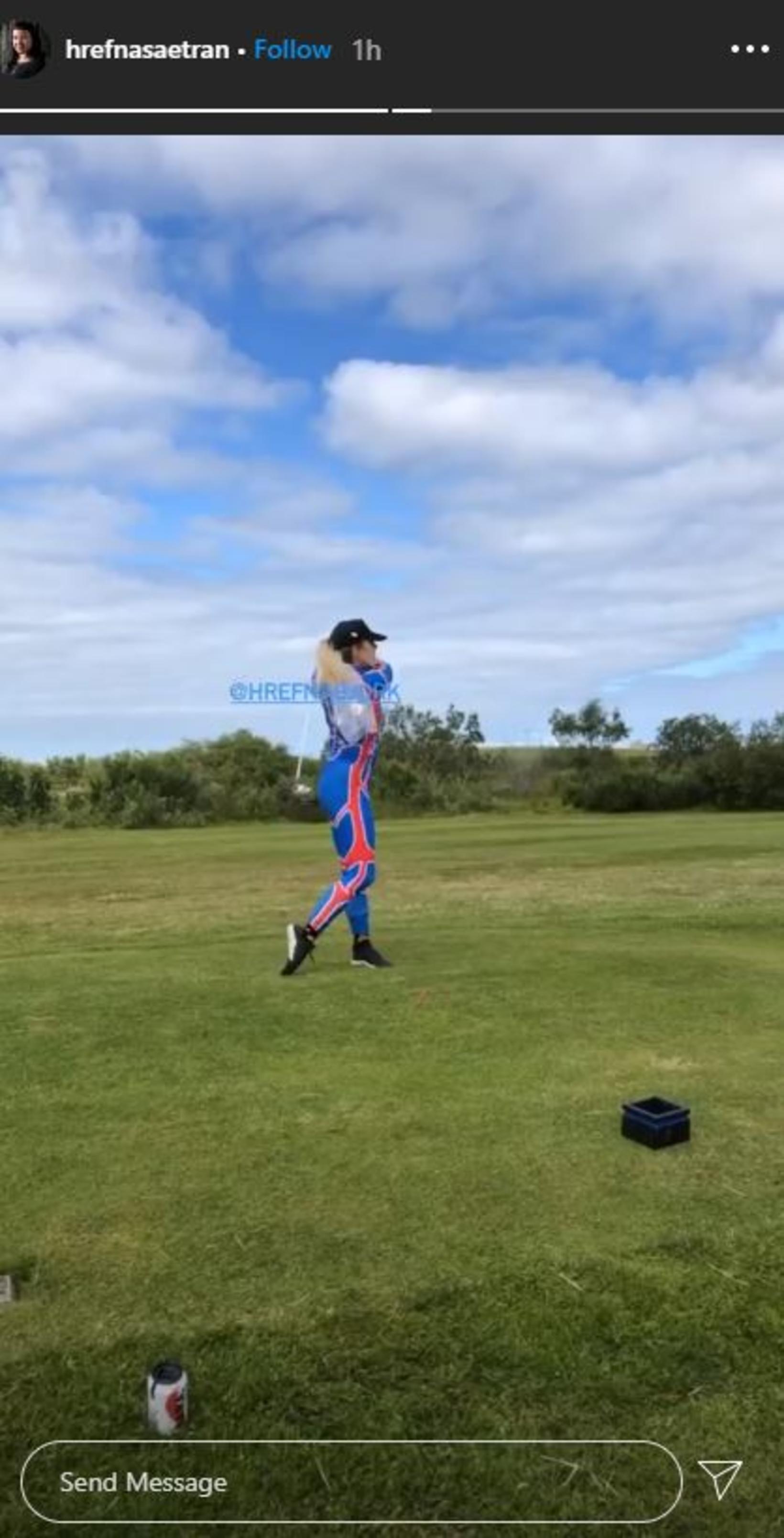 Hrefna Björk fór út á golfvöll.
