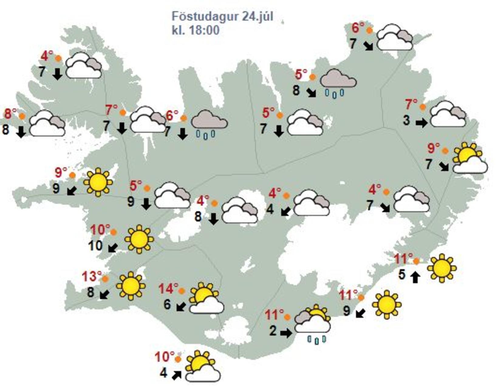 Veðurspá fyrir föstudaginn 24. júlí klukkan 18:00.