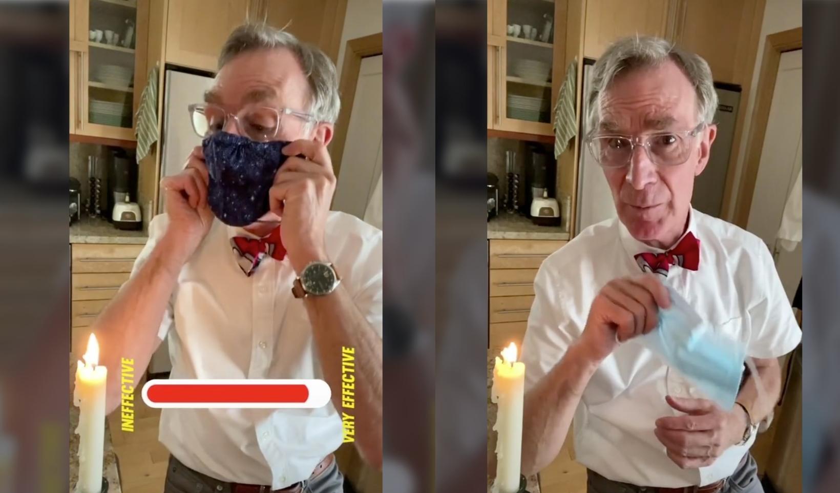 """Bill Nye """"The Science Guy"""" útskýrir og sýnir hvernig grímur …"""