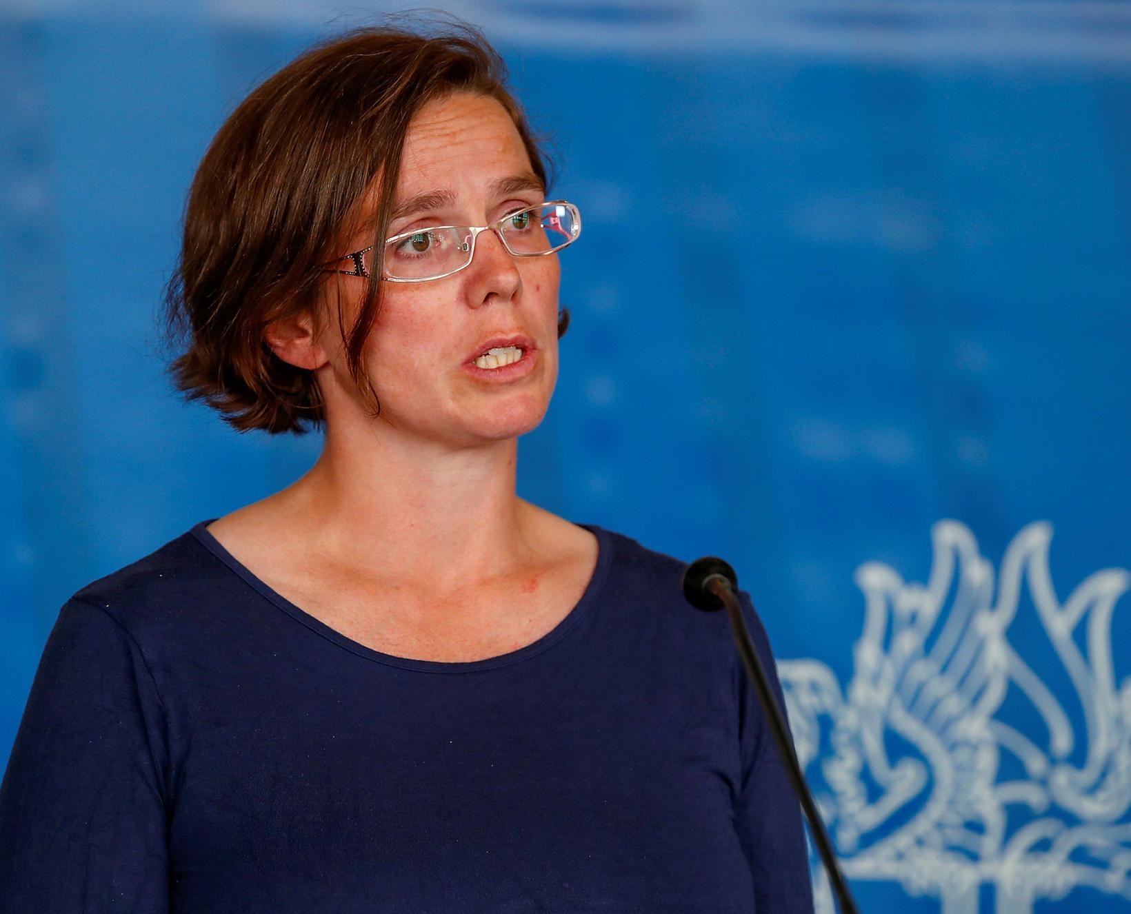 Kamilla Sigríður Jósefsdóttir á blaðamannafundi í dag.