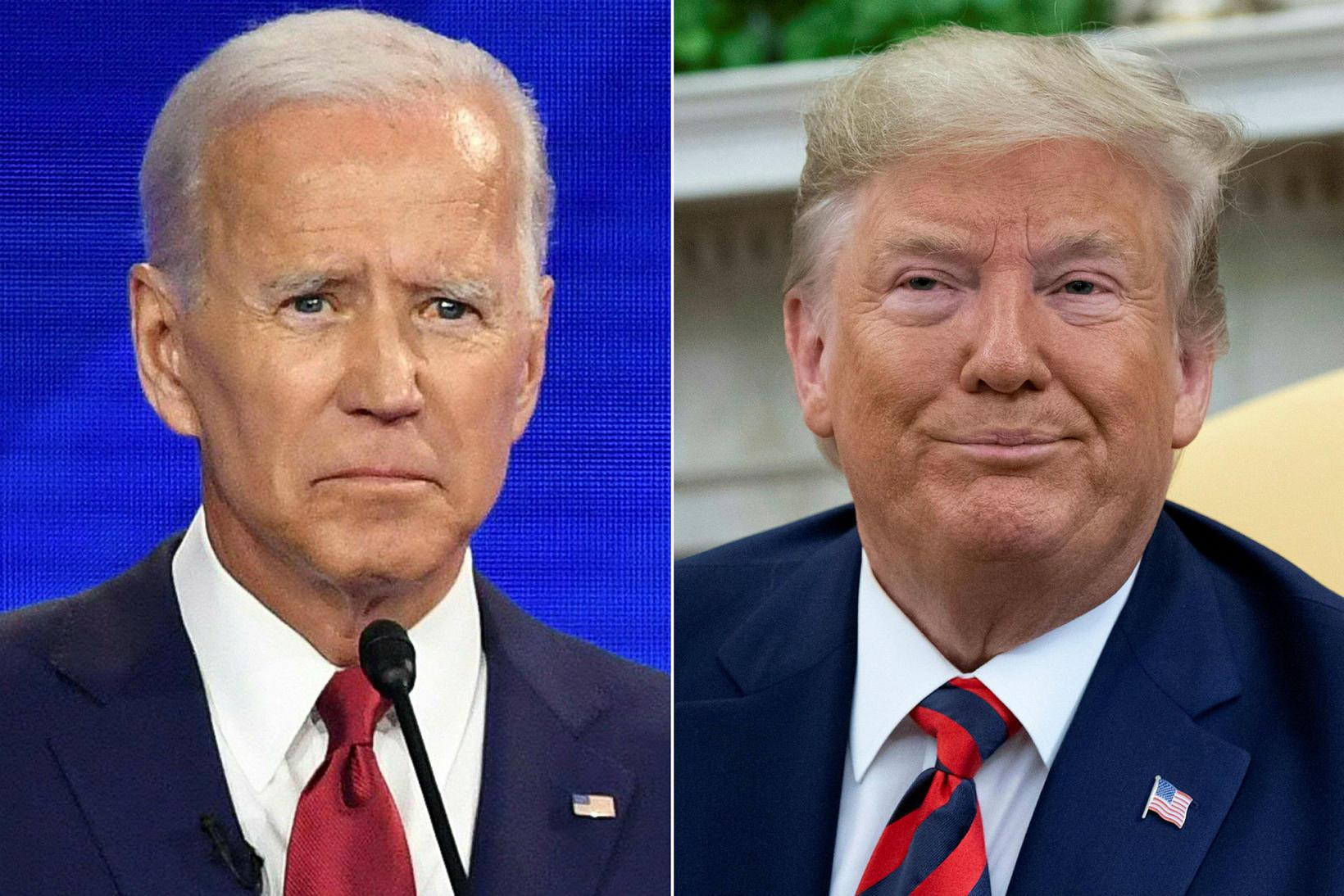 Joe Biden og Donald Trump berjast um forsetaembættið. Kosningar verða …