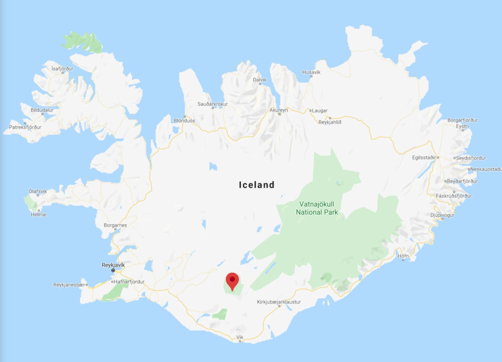 The map shows the location of Hrafntinnusker.