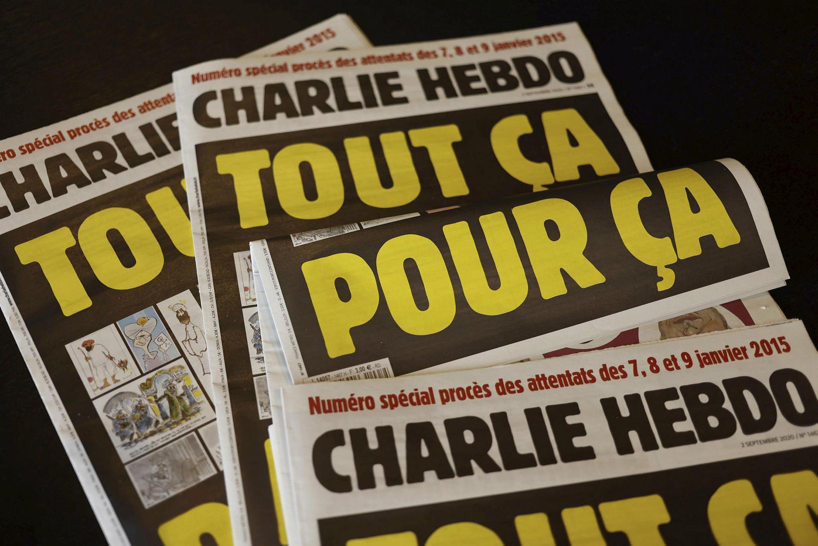 Forsíða Charlie Hebdo í gær.