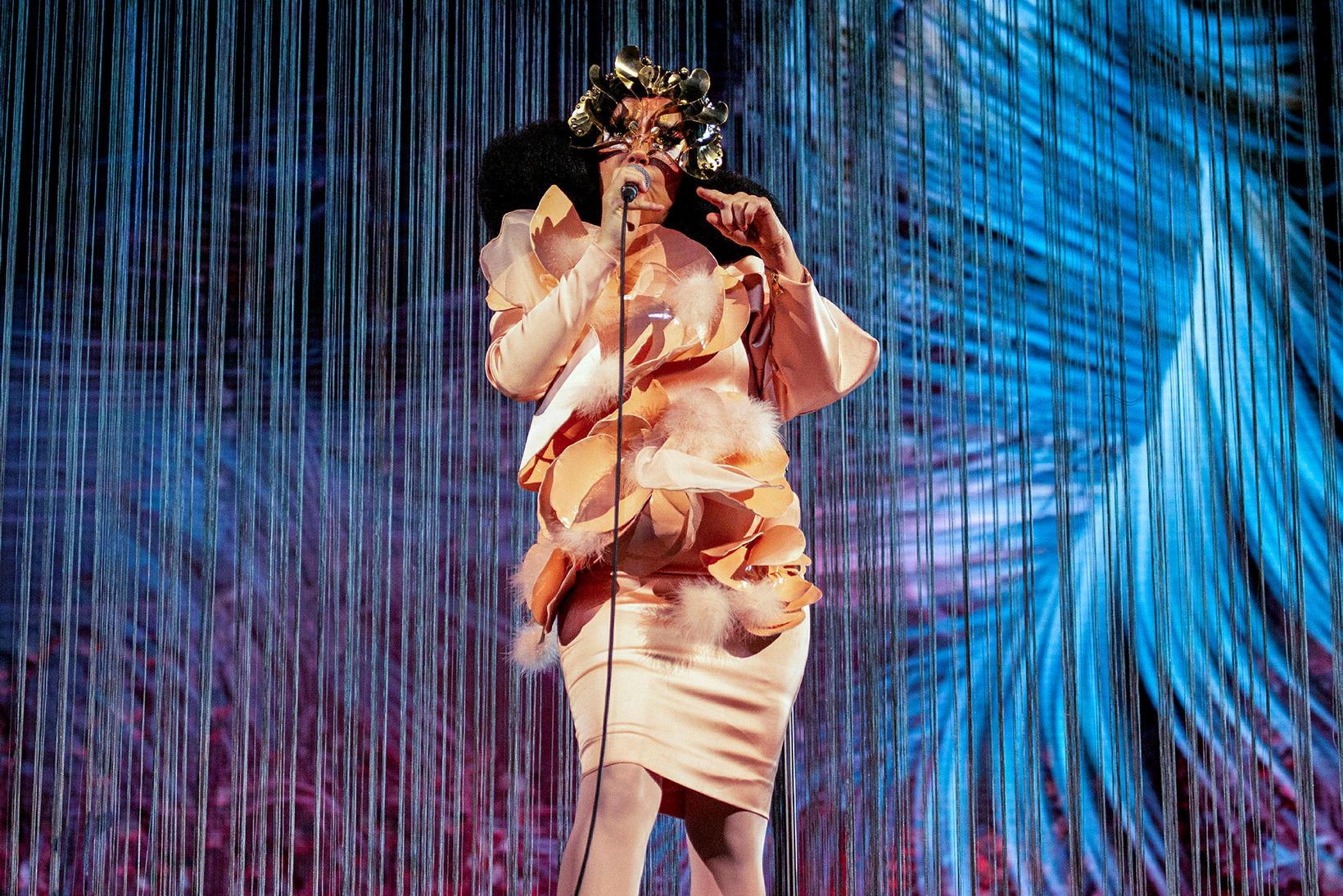 Grímuklædd Björk Guðmundsdóttir.
