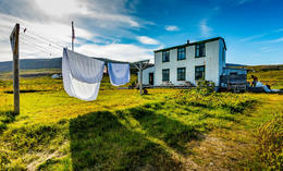 Laundry on a line by the physician's residence.