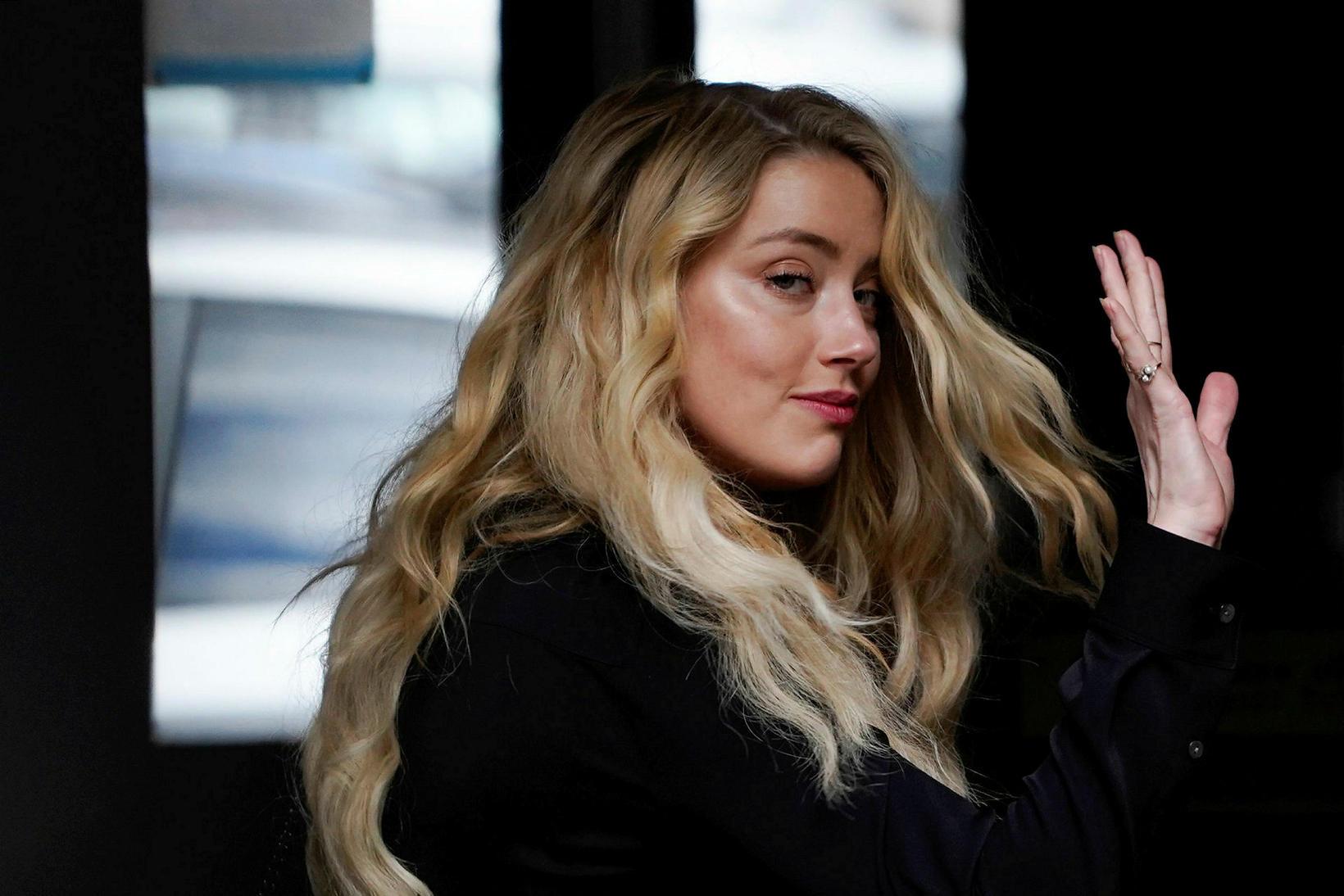 Amber Heard á lokadegi réttarhaldanna.