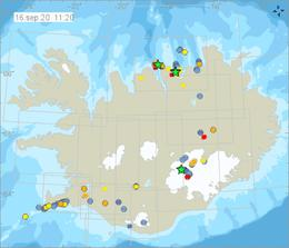 The green stars denote earthquakes of M3.0 or more.