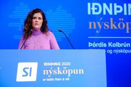 Þórdís Kolbrún Reykfjörð Gylfadóttir, ferðamála-, iðnaðar- og nýsköpunarráðherra, á Iðnþingi í dag.