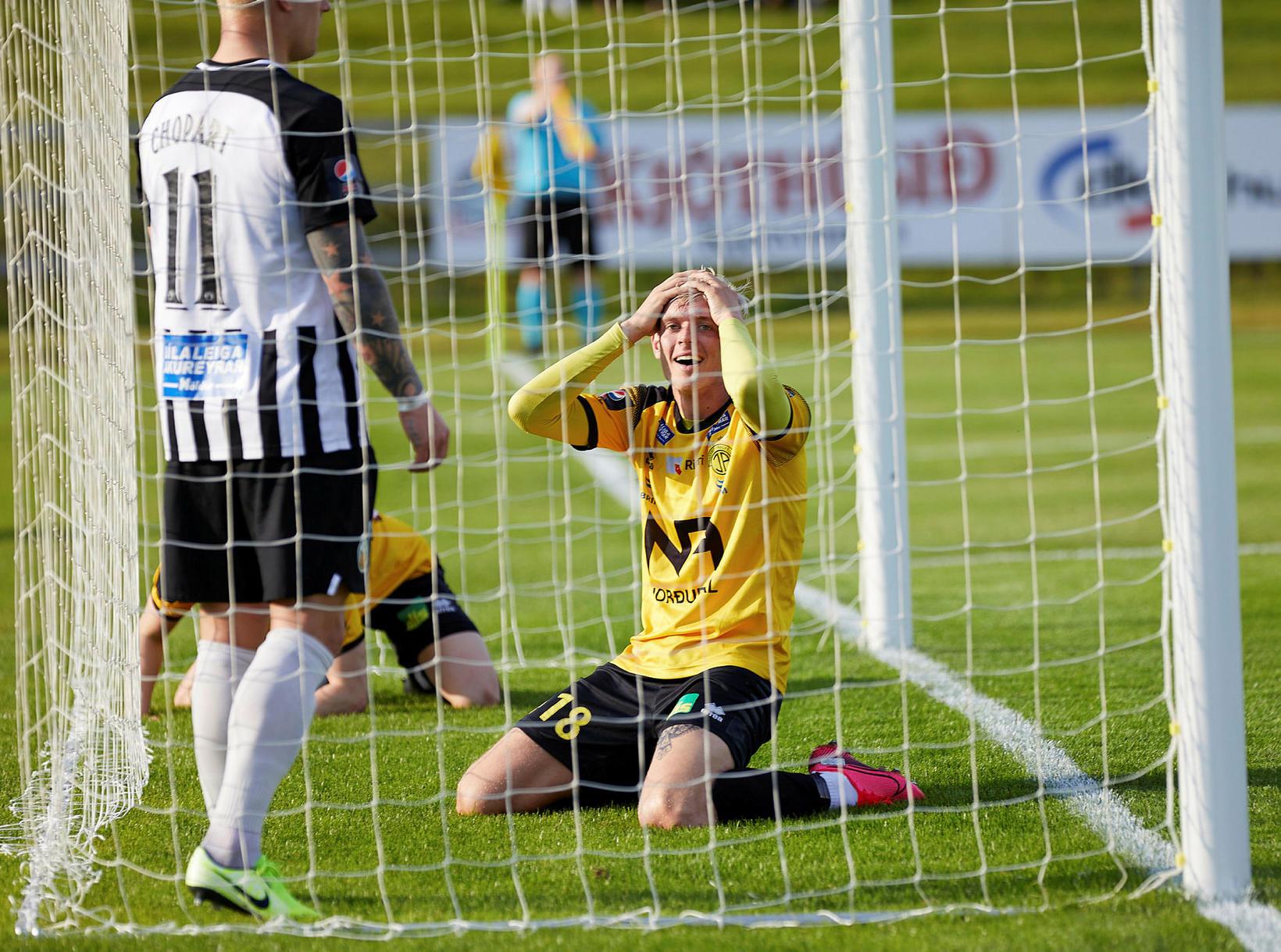 Stefán Teitur Þórðarson kom Skagamönnum á bragðið gegn Fjölni.
